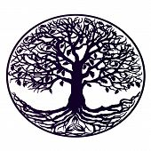 A tattoo is a tree of life. Beautiful tree with dense roots, purple gradient poster