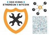 Security Configuration pictograph with 300 blockchain, bitcoin, ethereum, smart contract images. Vector pictograph collection style is flat iconic symbols. poster