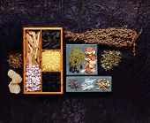 various incense resins and dry incense herbs poster