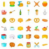 Gastronomy icons set. Cartoon style of 36 gastronomy vector icons for web isolated on white background poster