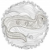 Ugly and creepy fish with high details for anti stress coloring page, illustration of a moray in tracery style. Sketch of moray eel for tattoo, poster, print, t-shirt in zentangle style. Vector. poster