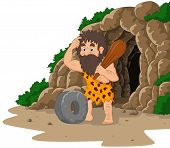 Vector illustration of Cartoon caveman inventing stone wheel with cave background poster