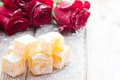 Delicious Turkish Delight with rose flower taste poster