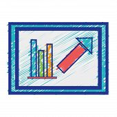 document with statistics bar diagram graphy vector illustration poster