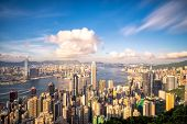 Panorama of Hong Kong City skyline before sunset. View from The peak Hongkong. poster