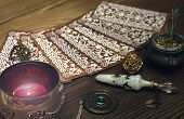 Tarot cards on fortune teller table. Divination. Witchcraft. poster