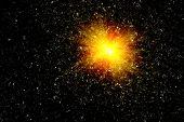 Star blast on black background. Big bang illustration poster