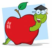 Happy Graduate Worm In Apple Raster Illustration poster