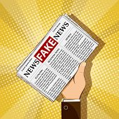 Fake news in daily press. Man is holding in his hand a newspaper with lies and propaganda. Stock vector illustration. poster