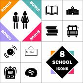 Kids Icon and Set Perfect Back to School pictogram. Contains such Icons as Schoolbook, School  Building, School Bus, Textbooks, Bell, Blackboard, Student Backpack, Brain Learn poster