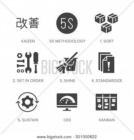 Kaizen, 5s Methodology Flat Glyph Icons Set. Japanese Business Strategy, Kanban Method Vector Illust