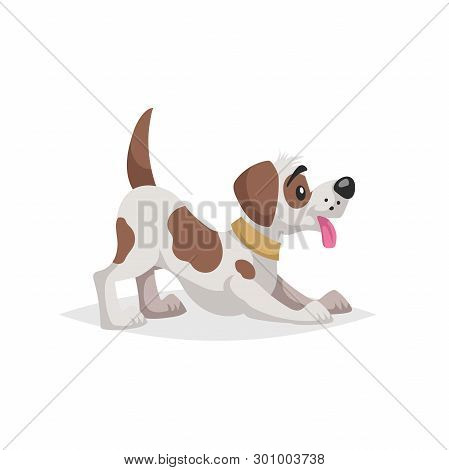 Cute Cartoon Spotted Dog Puppy Makes Compliment To Owner. Pet Animal. Flat With Simple Gradient Illu