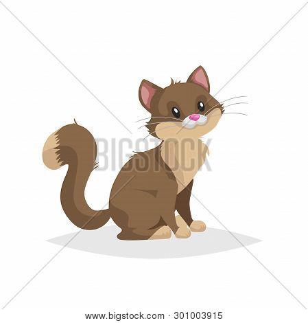 Cute Brown Cartoon Cat Sitting. Domestic Farm Animal. Pet Drawing. Flat Comic Style. Ideal For Educa