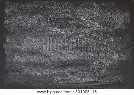 Dark Grey Black Slate Background Or Texture. Black Chalkboard Texture. Blackboard With Space To Add