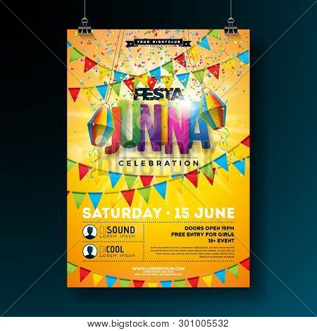 Festa Junina Party Flyer Design With Flags, Paper Lantern And Typography Design On Yellow Background