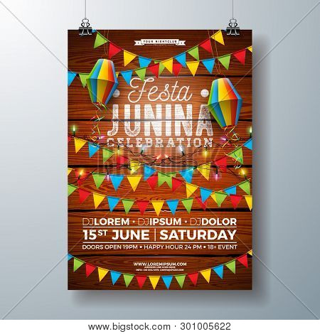 Festa Junina Party Flyer Design With Flags, Paper Lantern And Typography Design On Vintage Wood Back