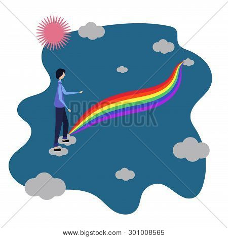 Male Enters The Rainbow. Among The Clouds. Lgbt Community. Human Rights Choose Love. Lgbtq. Vector I