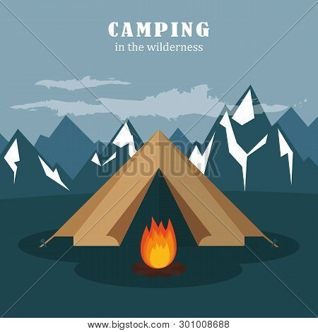 Camping Adventure In The Wilderness Tent At Snowy Mountain Landscape Vector Illustration Eps10