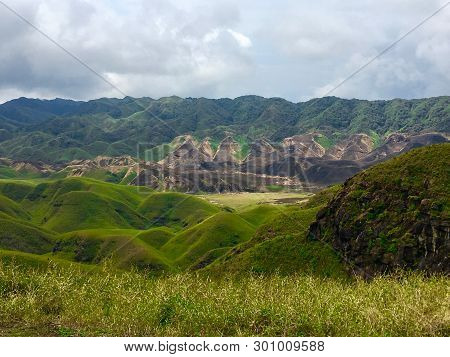 Green Hills Of Dzukou Valley, Nagaland, Northeast India. The Dzukou Valley Is Located At The Border