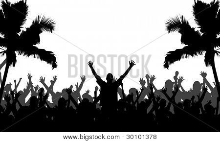 Party People with Palm Trees Silhouettes - Fully editable EPS 10 Vector Format