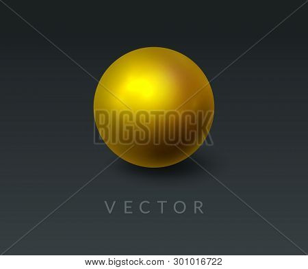 Gold Round Sphere And 3d Ball. Realistic Golden Orb On Abstract Dark Background. Design Element For
