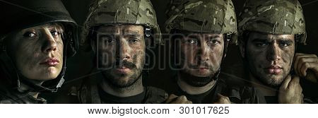 Portrait Of Young Male And Female Soldier. Men And Woman In Military Uniform On The War. Depressed A