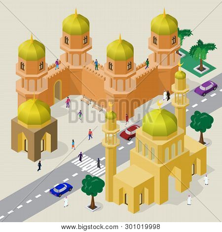 Vector Cityscape In Arabian Style. Set Of Isometric Buildings, Mosque, Minarets, Fortress Wall With