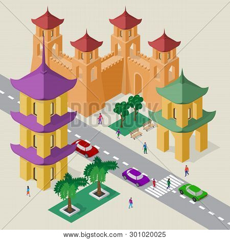 Vector Cityscape In East Asia Style. Set Of Isometric Buildings, Pagoda, Fortress Wall With Towers,