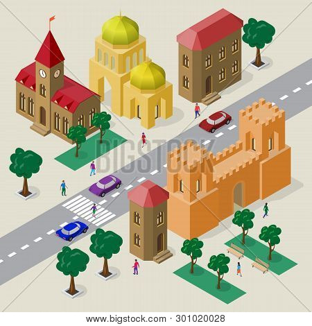 Vector Cityscape In European Style. Set Of Isometric Buildings, Church, Fortress Gate With Towers, R