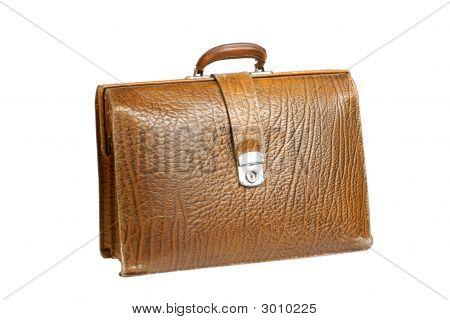 旧皮革公文包