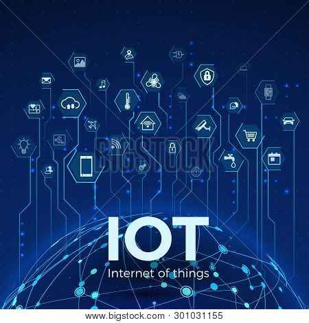 Internet Of Things. Iot Icons Concept. Global Network Connection. Monitoring And Control Smart Syste
