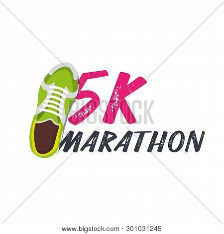 5k Marathon Run Event With Sneakers. Vector Illustration.