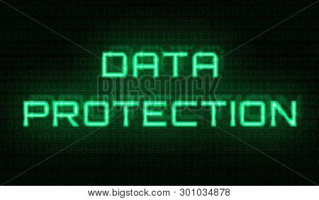 Binary Code With The Words Data Protection In The Center