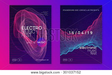 Edm Flyer. Dynamic Fluid Shape And Line. Trendy Discotheque Invitation Set. Neon Edm Flyer. Electro