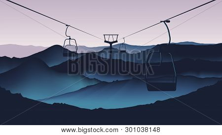 Cable Car Moving Through High Mountains In Twilight Time Landscape