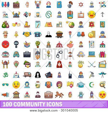 100 Community Icons Set. Cartoon Illustration Of 100 Community Icons Isolated On White Background