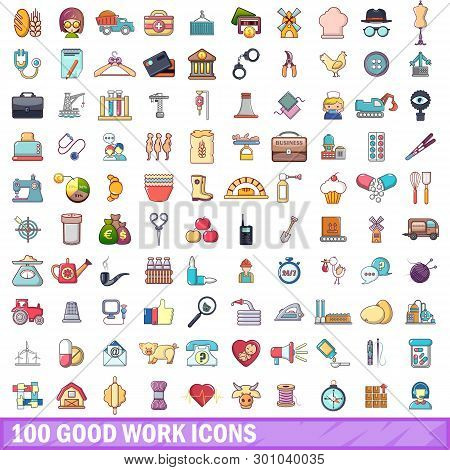 100 Good Work Icons Set. Cartoon Illustration Of 100 Good Work Icons Isolated On White Background