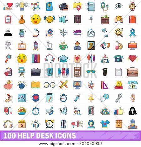 100 Help Desk Icons Set. Cartoon Illustration Of 100 Help Desk Icons Isolated On White Background