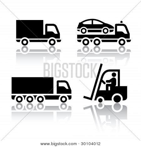 Satz von Symbolen Transportwagen