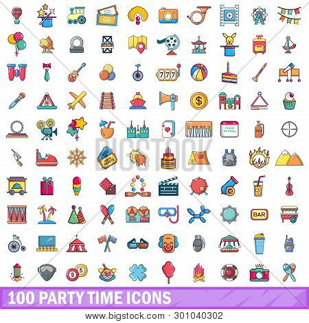 100 Party Time Icons Set. Cartoon Illustration Of 100 Party Time Icons Isolated On White Background