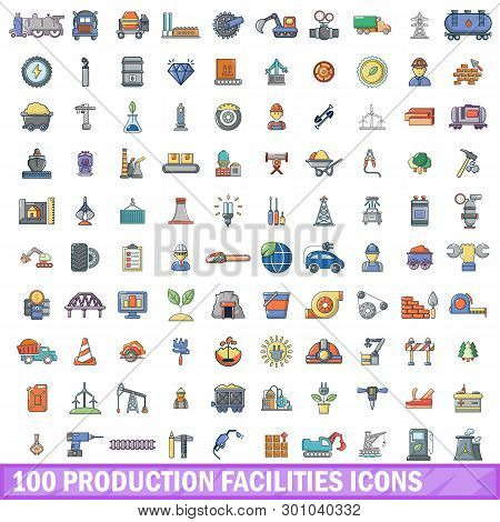100 Production Facilities Icons Set. Cartoon Illustration Of 100 Production Facilities Icons Isolate
