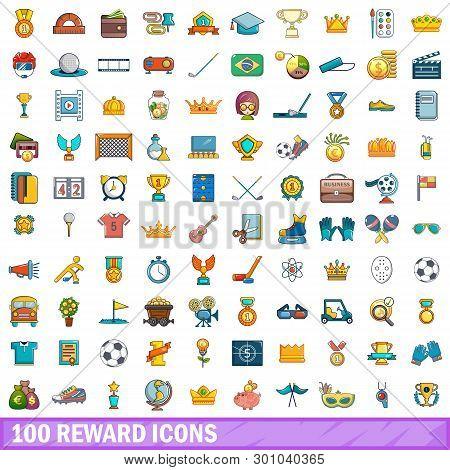 100 Reward Icons Set. Cartoon Illustration Of 100 Reward Icons Isolated On White Background