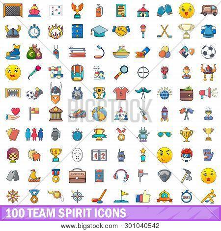 100 Team Spirit Icons Set. Cartoon Illustration Of 100 Team Spirit Icons Isolated On White Backgroun