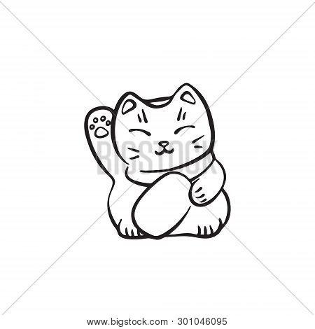 Hand Drawn Maneki Neko Cute Cat. Vector Black Ink Drawing Isolated On White Background. Graphic Trad