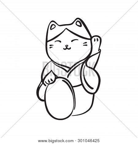 Hand Drawn Maneki Neko Talisman. Vector Black Ink Drawing Isolated On White Background. Graphic Trad