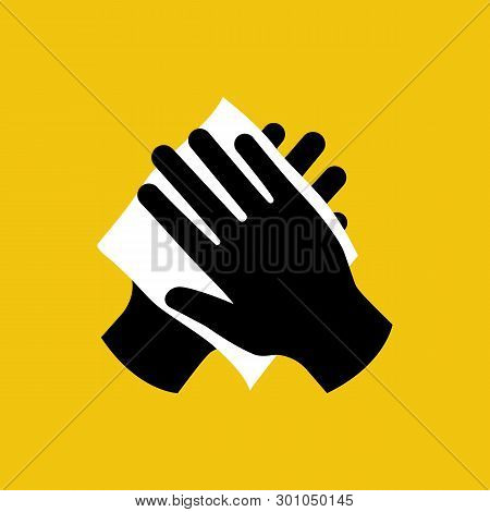 Wipe Your Hand With Damp Cloth Black Icon. Wipe Skin Paper Tissue. Wash Hand. Personal Hygiene. Whit