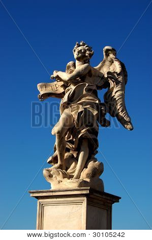 Sant Angelo Bridge, Rome, Angel with Superscription