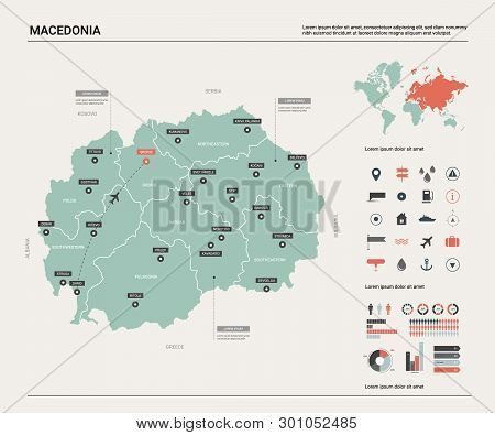 Vector map of Macedonia. Country map with division, cities and capital Skopje. Political map,  world map, infographic elements. poster