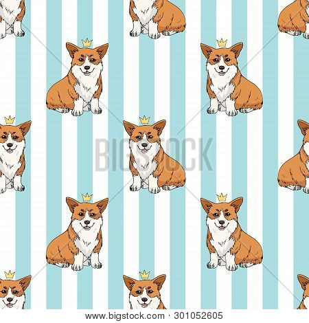 Seamless Pattern With Cute Cartoon Pembroke Welsh Corgi Wearing A Crown Isolated On Light Blue And W