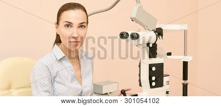 Eye Ophthalmologist Exam. Eyesight Recovery. Astigmatism Check Concept. Ophthalmology Diagmostic Dev